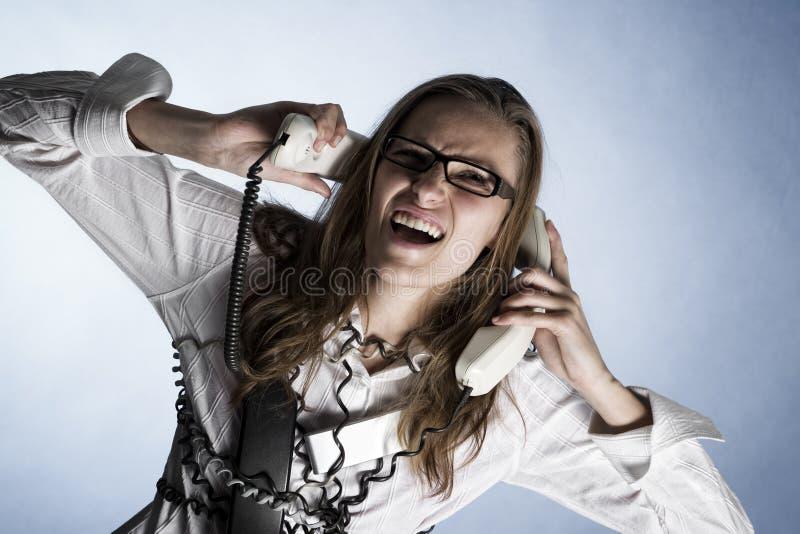 Operador de griterío del teléfono. imagenes de archivo