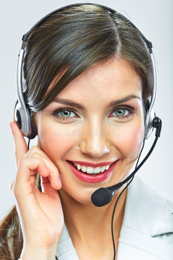 Operador de la atención al cliente Cara de la mujer Ópera sonriente del centro de atención telefónica foto de archivo