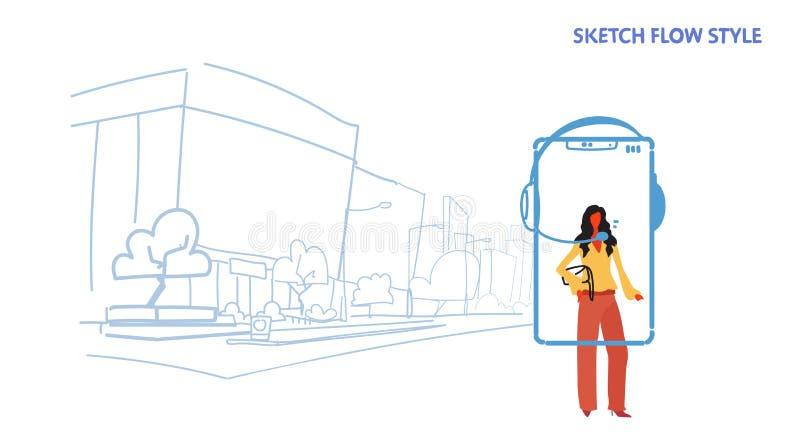 Operador de la empresaria usando la pantalla del smartphone del concepto de la atención al cliente del trabajador del centro de a libre illustration