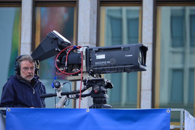 Operador de la TV, Berlín 2015 foto de archivo libre de regalías