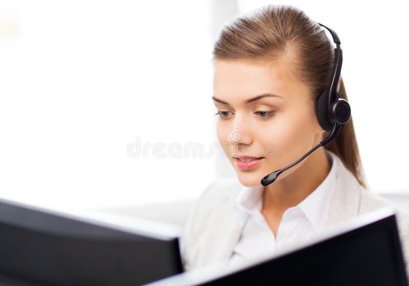 Operador de sexo femenino amistoso del servicio de ayuda fotografía de archivo libre de regalías