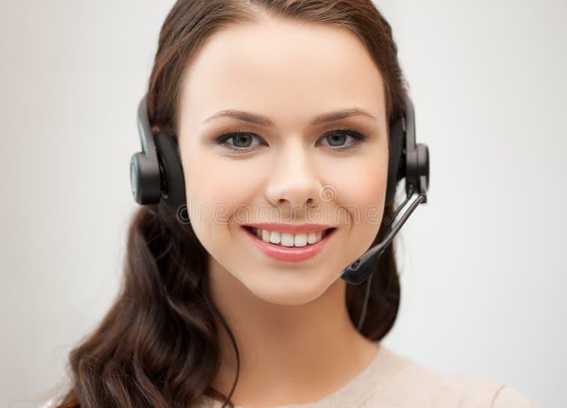 Operador de sexo femenino amistoso del servicio de ayuda imagen de archivo