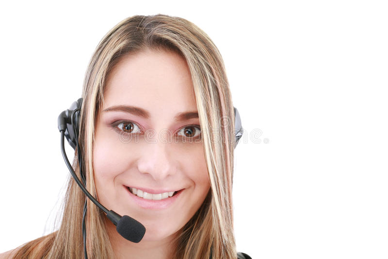 Operador de sexo femenino cómodo del servicio de ayuda fotografía de archivo libre de regalías
