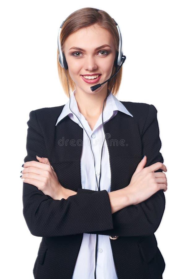 operador de sexo femenino cómodo del servicio de ayuda imágenes de archivo libres de regalías