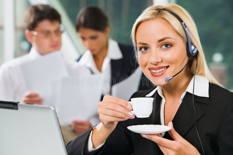 Operador de telefone amigável fotos de stock royalty free