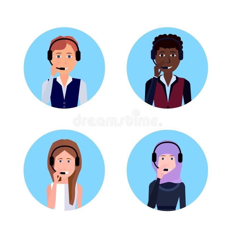 Operador del centro de atención telefónica de la raza de la mezcla de las auriculares del agente de la ayuda diversa del cliente, ilustración del vector
