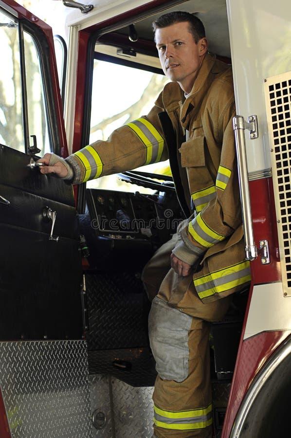 Operador del equipo del fuego fotos de archivo