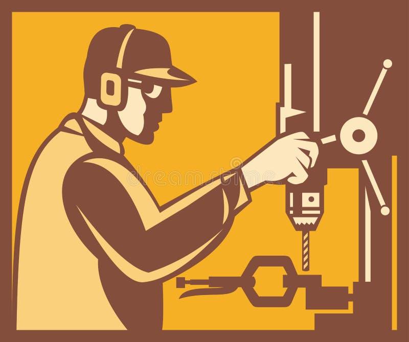 Operador del obrero con la prensa de taladro retra ilustración del vector