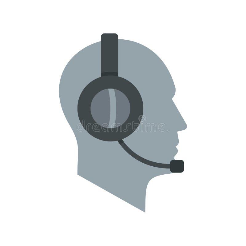 Operador del servicio de asistencia del cliente en icono de las auriculares ilustración del vector