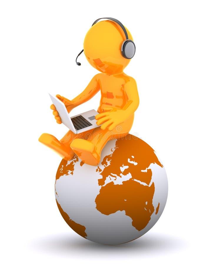 Operador del teléfono de la ayuda que se sienta en el globo de la tierra ilustración del vector