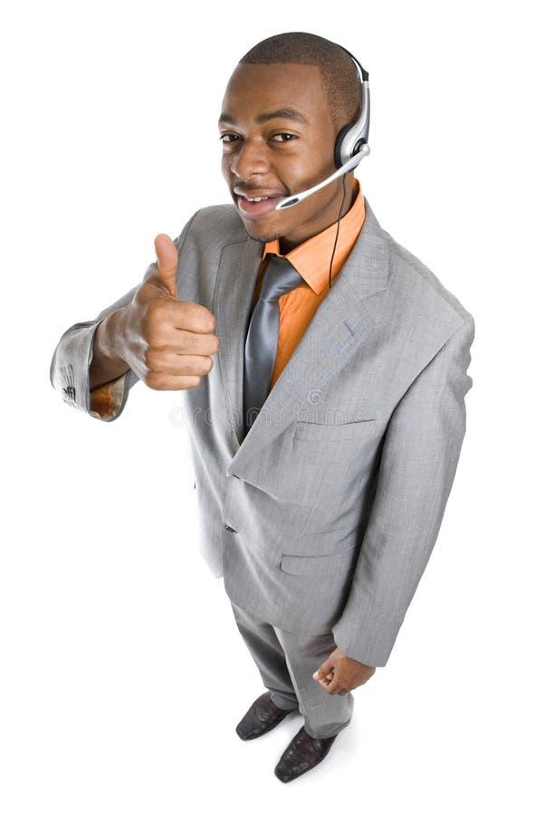 Operador do apoio a o cliente do americano africano imagem de stock