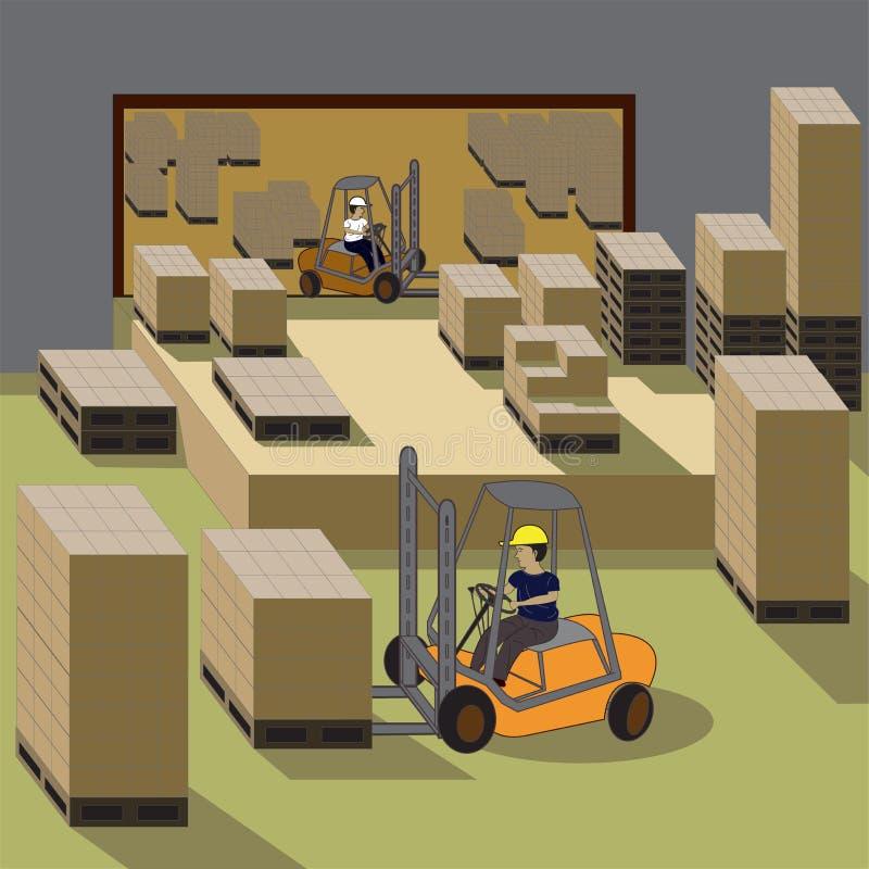 Operador do Forklift ilustração do vetor