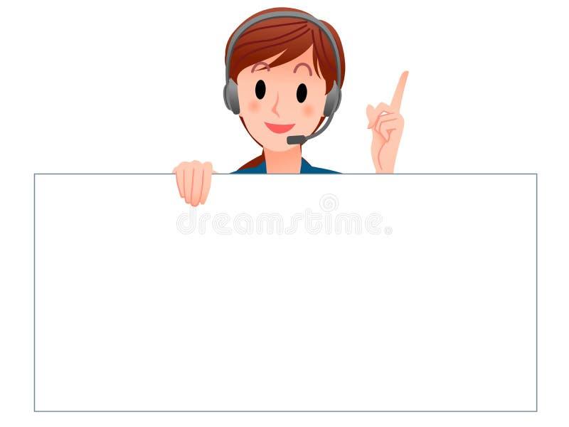 Operador do serviço de atenção a o cliente que prende uma placa em branco