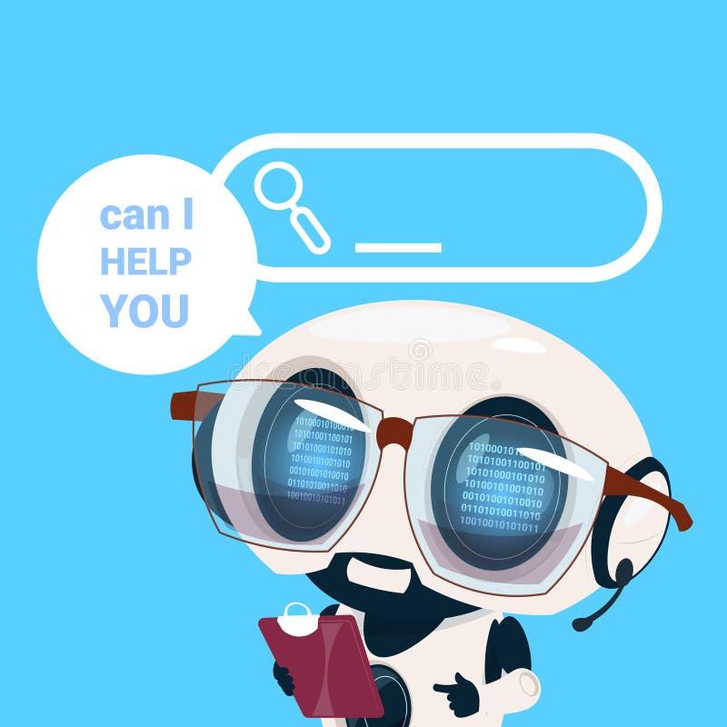 Operador em linha do cliente do robô do agente dos auriculares do centro de apoio, cliente da inteligência artificial e ícone do  ilustração do vetor