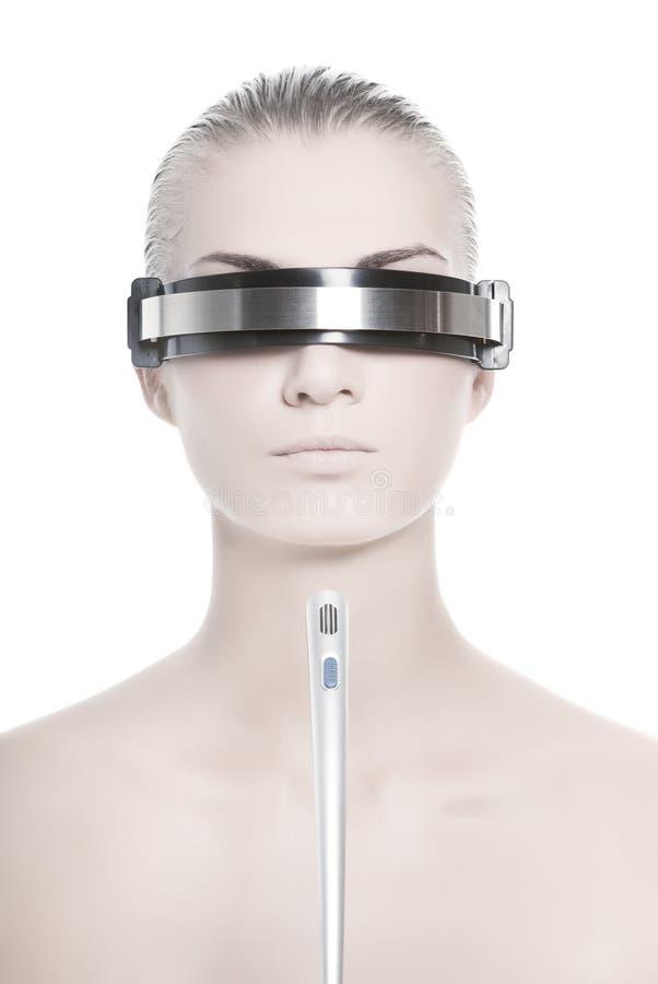 Operador em linha do cyber futurista fotos de stock