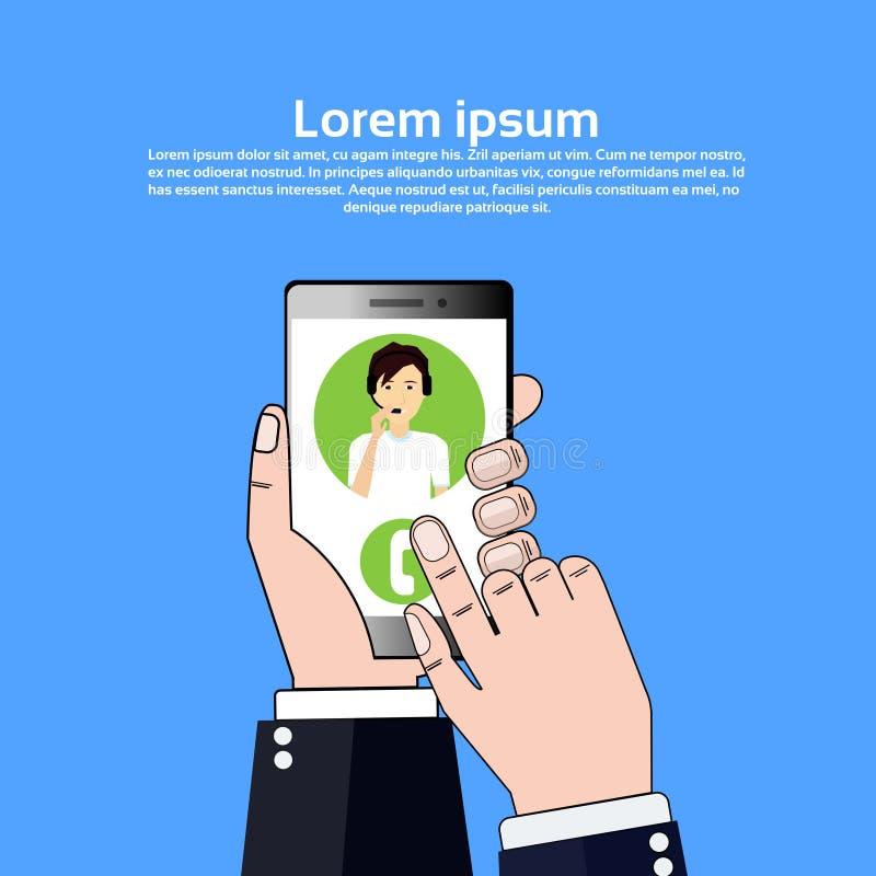 Operador en línea de la ayuda del cliente de la burbuja del hombre del agente de las auriculares del centro de atención telefónic libre illustration