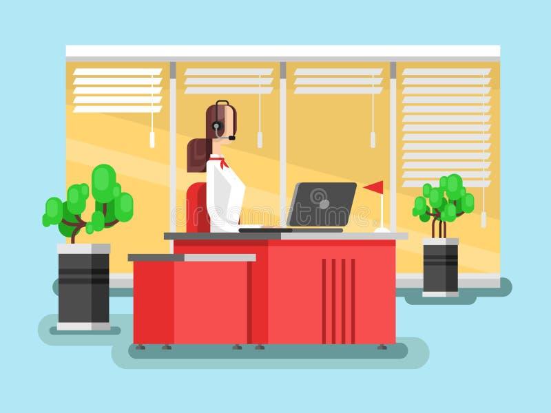 Operador en un centro de atención telefónica stock de ilustración