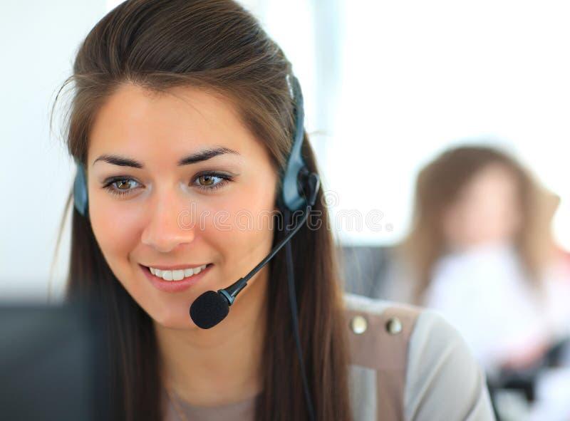 Operador fêmea do apoio a o cliente fotografia de stock