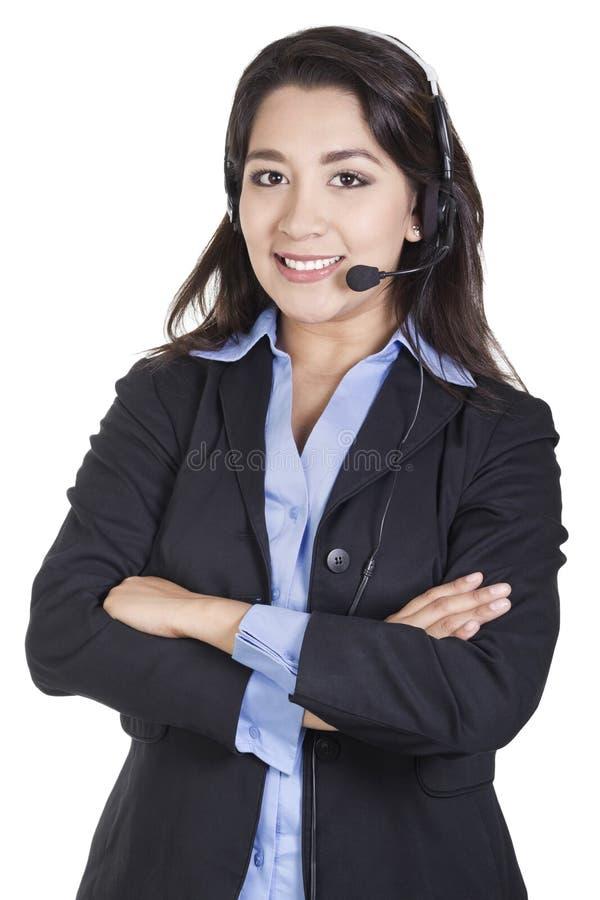 Operador fêmea do centro de chamadas fotos de stock