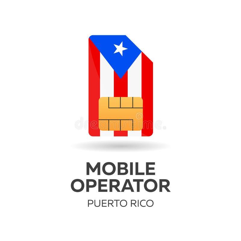Operador móvel de Porto Rico Cartão de SIM com bandeira Ilustração do vetor ilustração do vetor