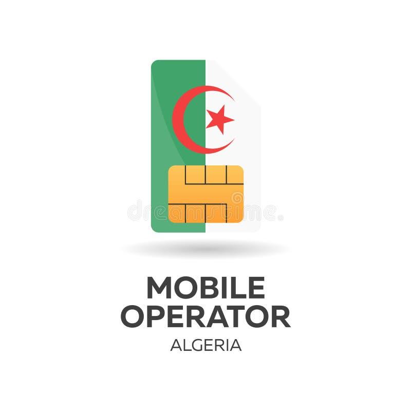 Operador móvil de Argelia Tarjeta de SIM con la bandera Ilustración del vector libre illustration