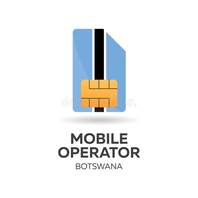 Operador móvil de Botswana Tarjeta de SIM con la bandera Ilustración del vector ilustración del vector