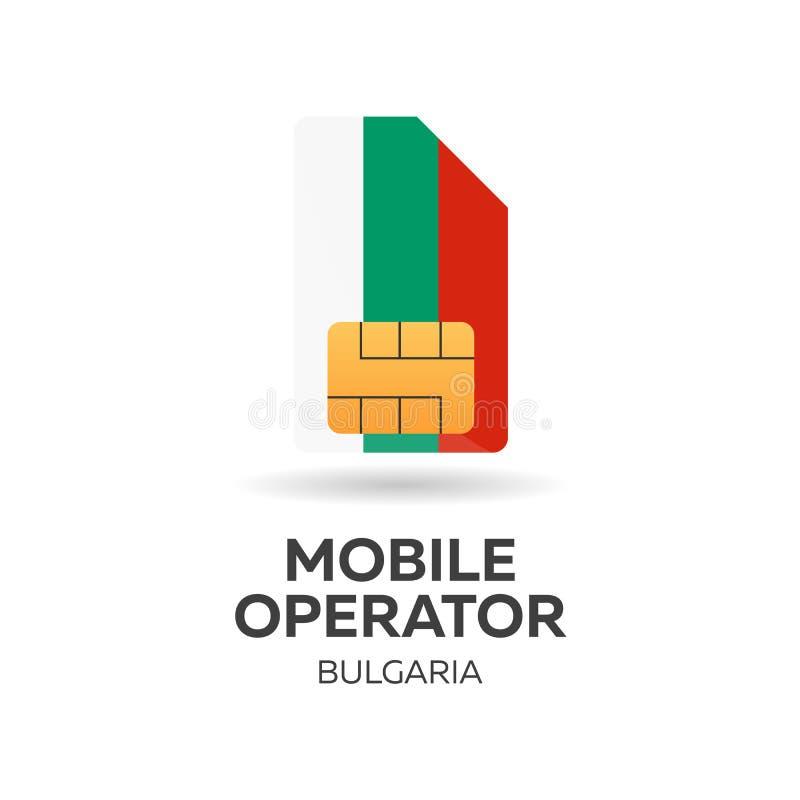 Operador móvil de Bulgaria Tarjeta de SIM con la bandera Ilustración del vector stock de ilustración