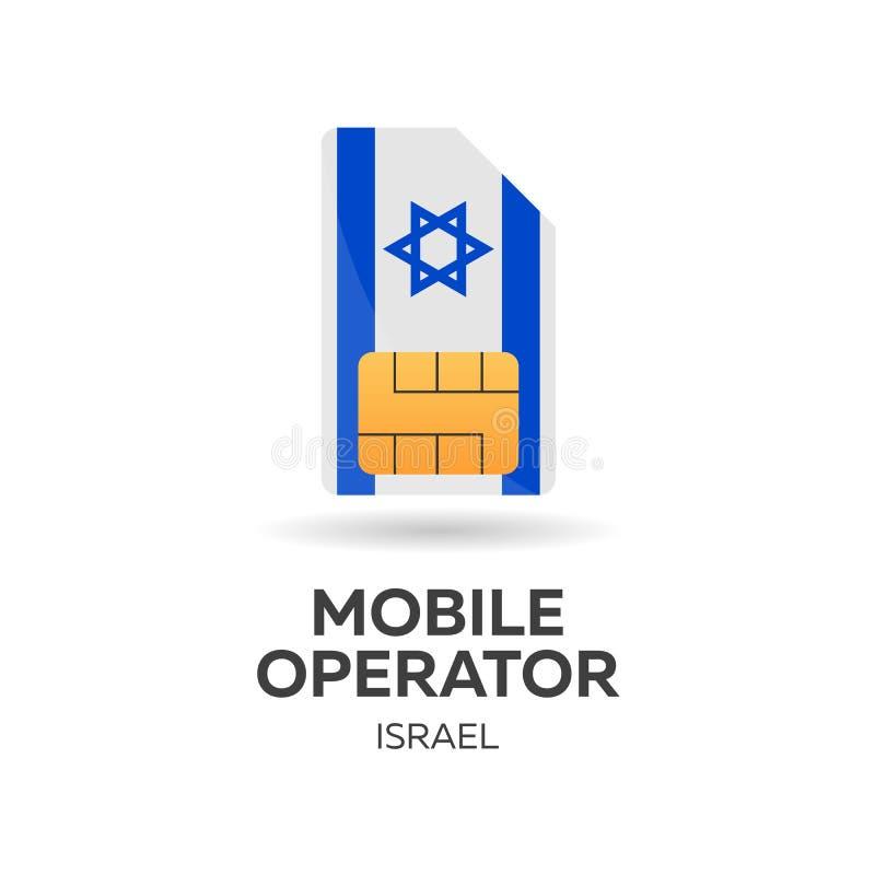 Operador móvil de Israel Tarjeta de SIM con la bandera Ilustración del vector libre illustration