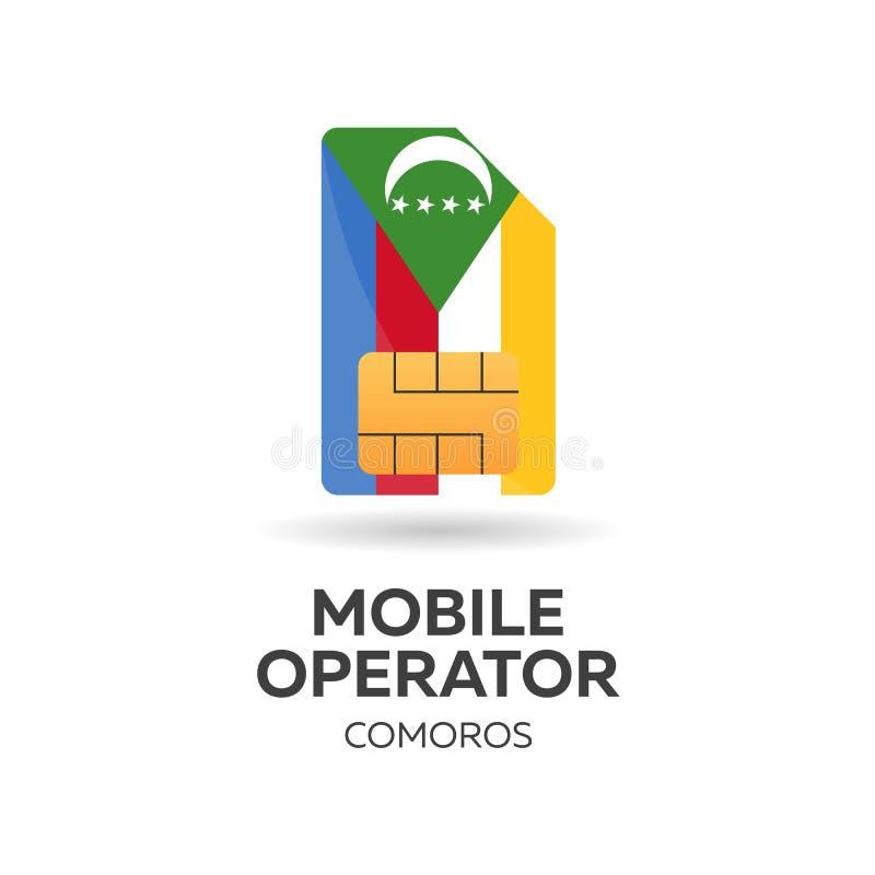 Operador móvil de los Comoro Tarjeta de SIM con la bandera Ilustración del vector ilustración del vector