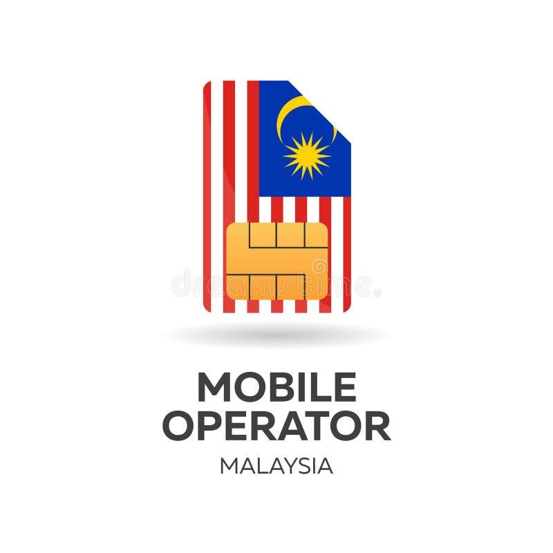 Operador móvil de Malasia Tarjeta de SIM con la bandera Ilustración del vector libre illustration