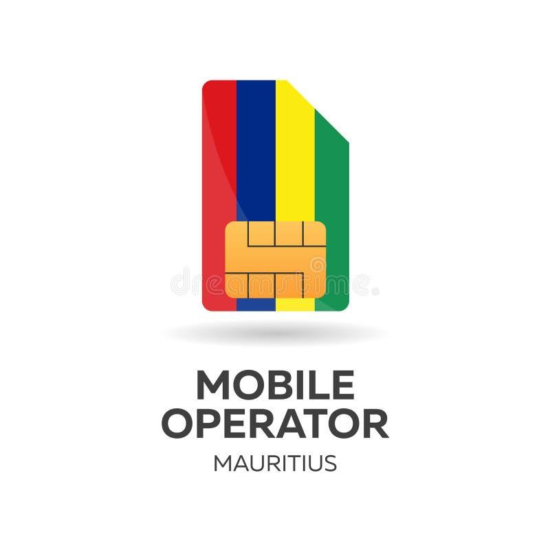 Operador móvil de Mauricio Tarjeta de SIM con la bandera Ilustración del vector libre illustration
