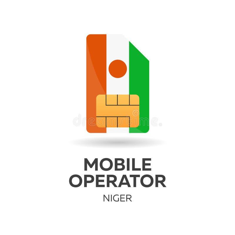Operador móvil de Niger Tarjeta de SIM con la bandera Ilustración del vector stock de ilustración