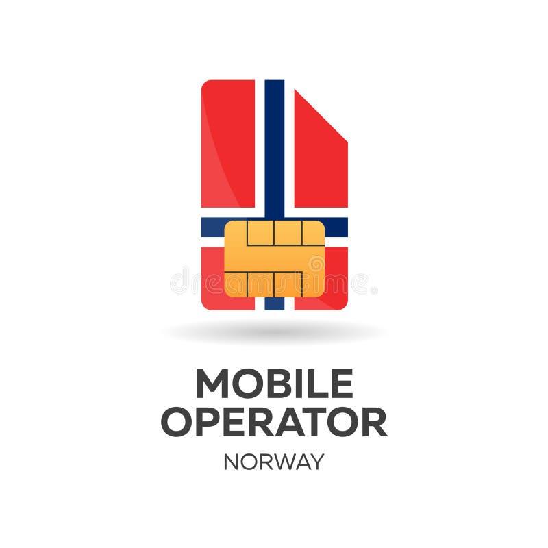 Operador móvil de Noruega Tarjeta de SIM con la bandera Ilustración del vector ilustración del vector