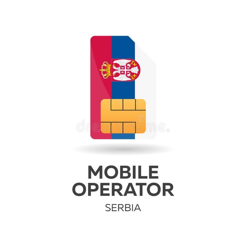 Operador móvil de Serbia Tarjeta de SIM con la bandera Ilustración del vector libre illustration
