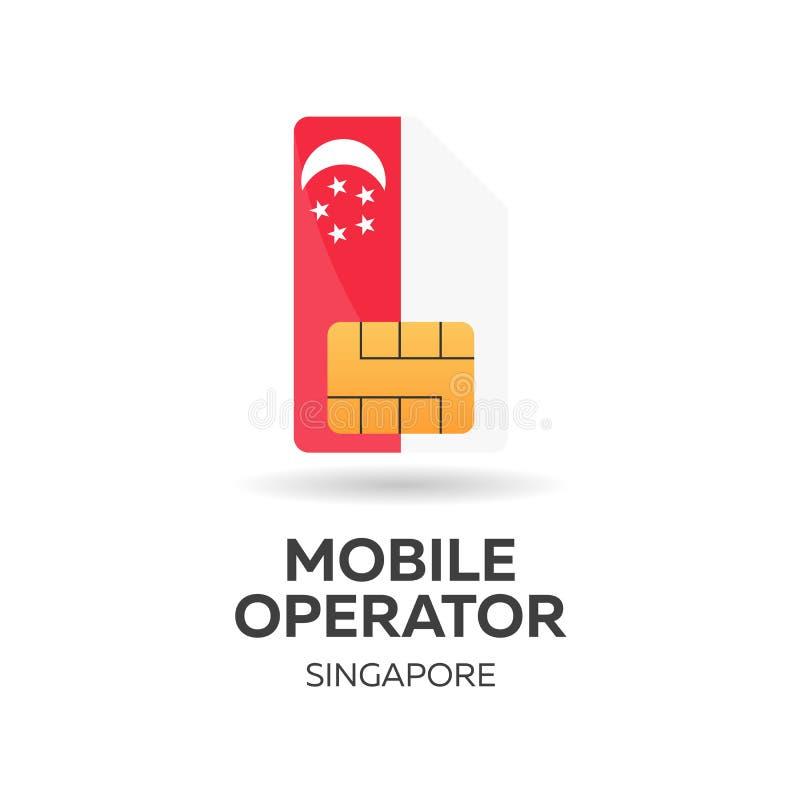 Operador móvil de Singapur Tarjeta de SIM con la bandera Ilustración del vector stock de ilustración