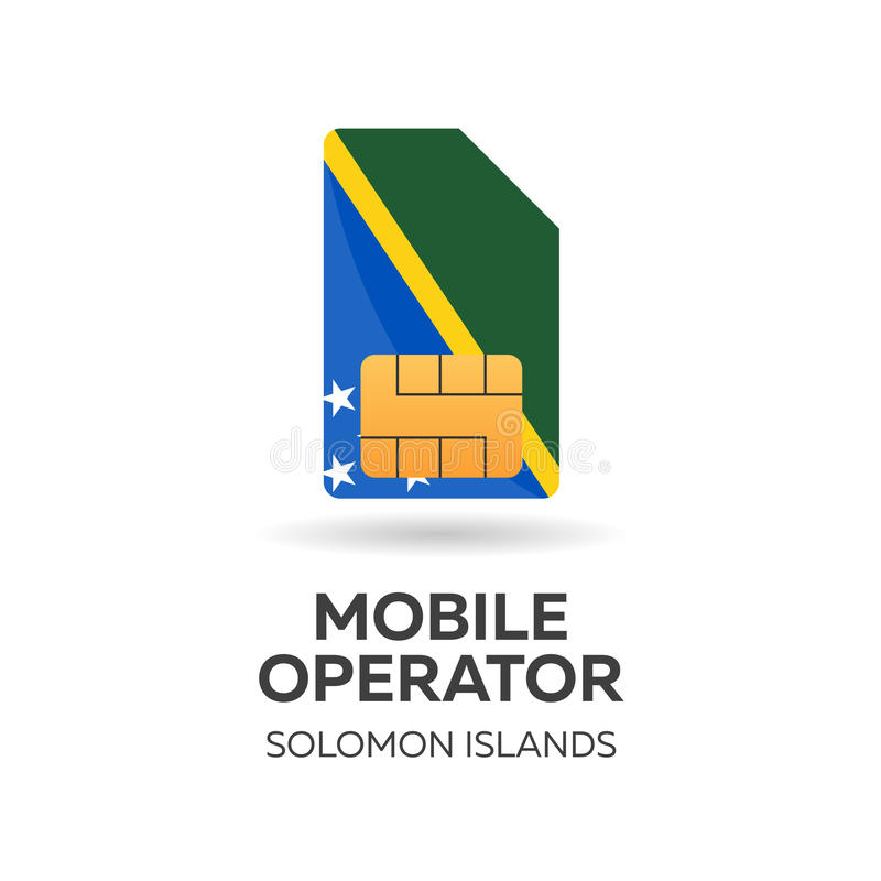 Operador móvil de Solomon Islands Tarjeta de SIM con la bandera Ilustración del vector stock de ilustración