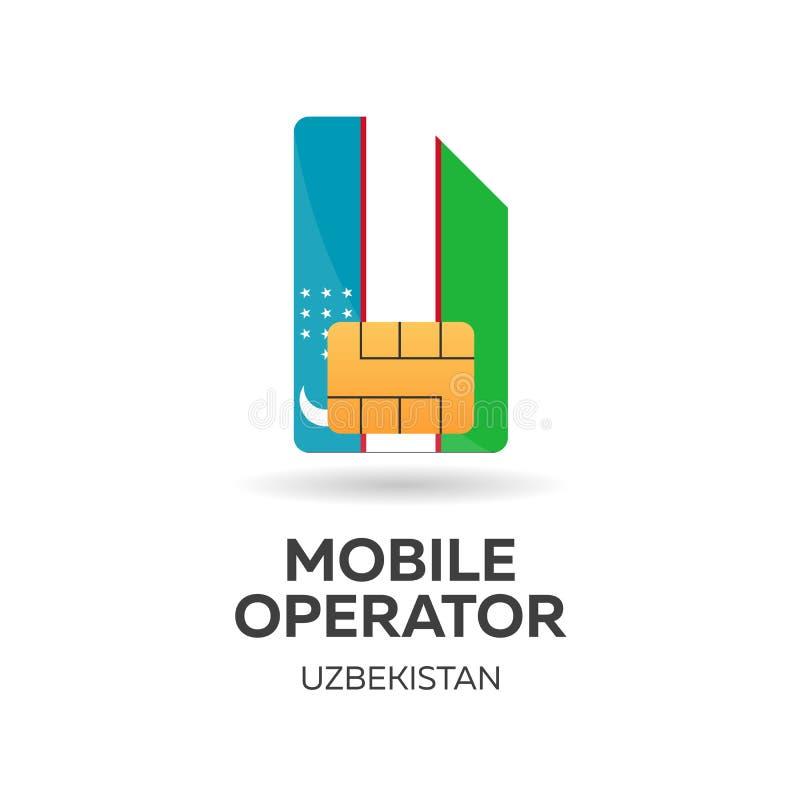 Operador móvil de Uzbekistán Tarjeta de SIM con la bandera Ilustración del vector libre illustration