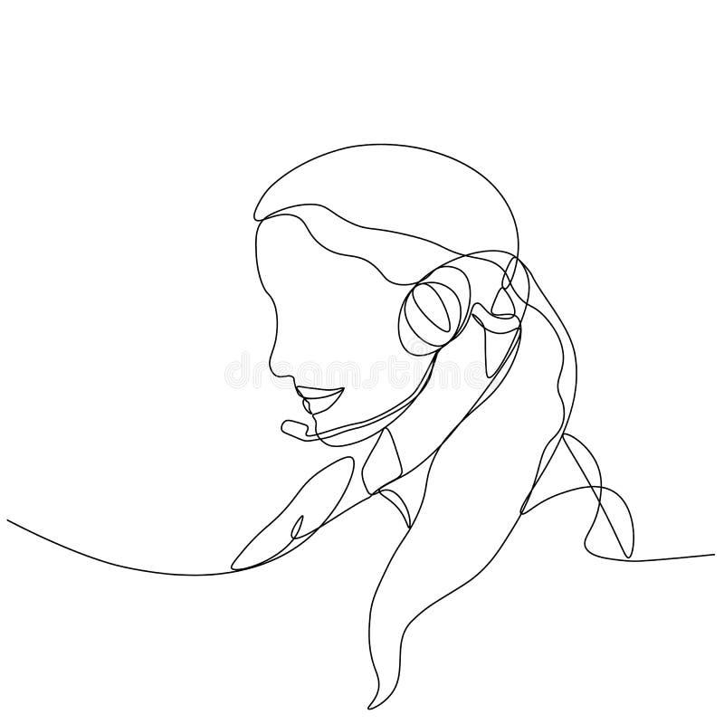 Operador ou gerente da menina, tirado por uma linha contínua preta Fundo branco ilustração stock