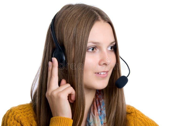 Operador profesional alegre del centro de atención telefónica imagen de archivo