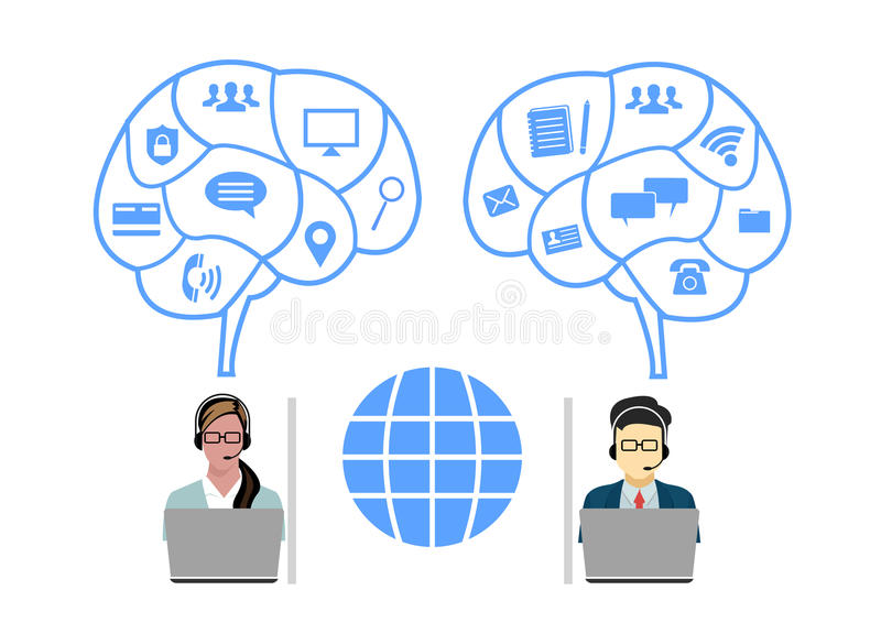 Operadores de centro de atención telefónica equipo, línea fina ejemplo de la comunicación de Internet de la burbuja de la charla  stock de ilustración