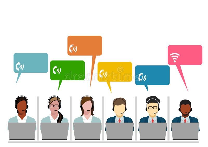 Operadores de centro de atendimento equipe, linha fina ilustração de uma comunicação do Internet da bolha do bate-papo do grupo d ilustração royalty free