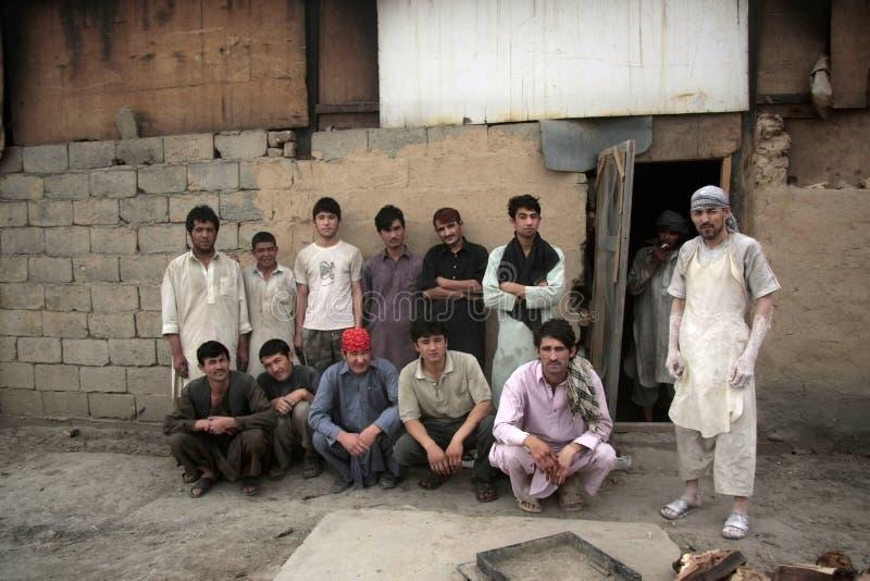 Operai afgani del forno fotografia stock