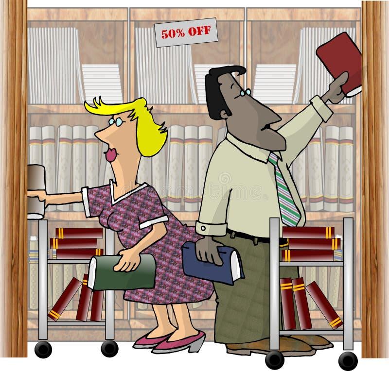 Operai in una libreria illustrazione vettoriale