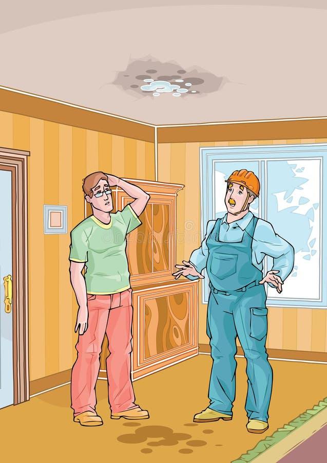 Operaio con il suo tetto della sgocciolatura e del cliente