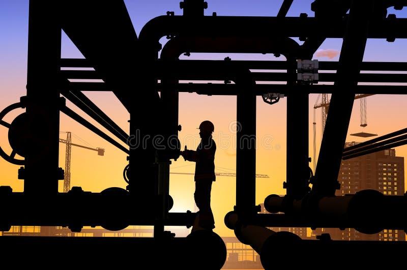Operaio dell'olio illustrazione di stock