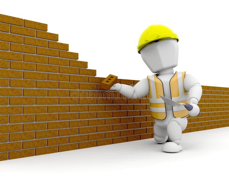 operaio di costruzione 3D illustrazione vettoriale