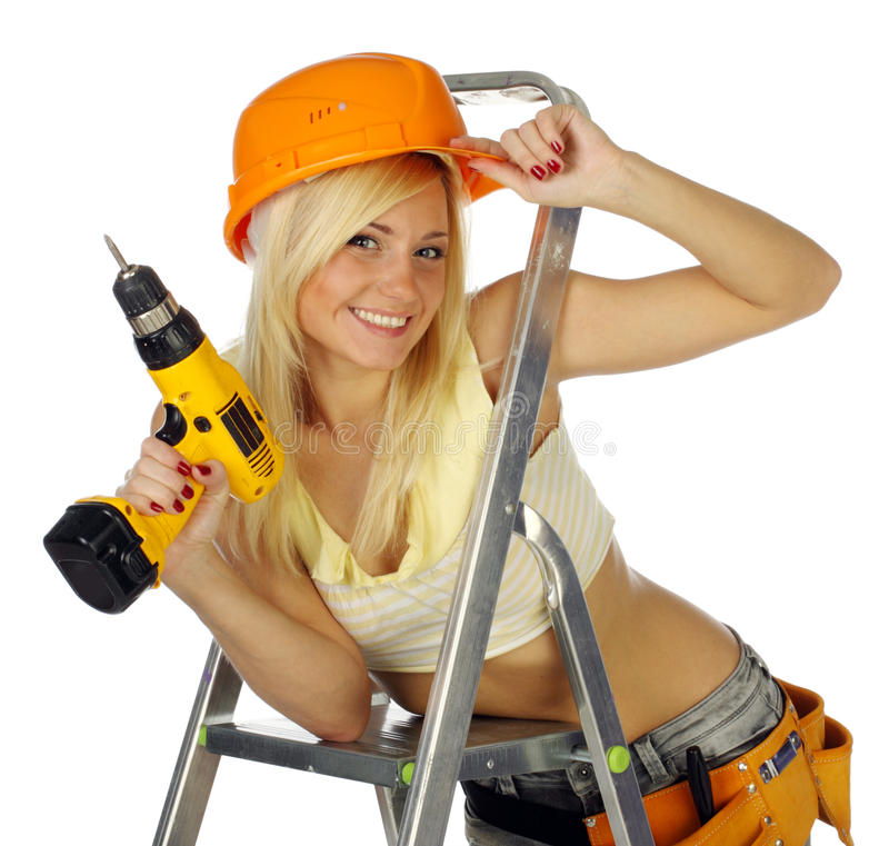 Operaio di costruzione femminile biondo sexy fotografia stock libera da diritti