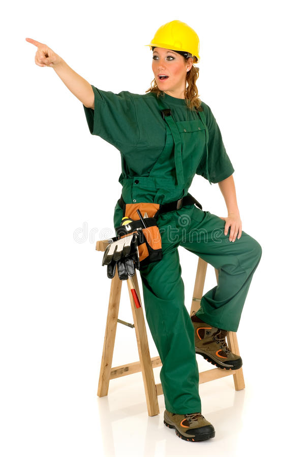 Operaio di costruzione, verde immagine stock libera da diritti