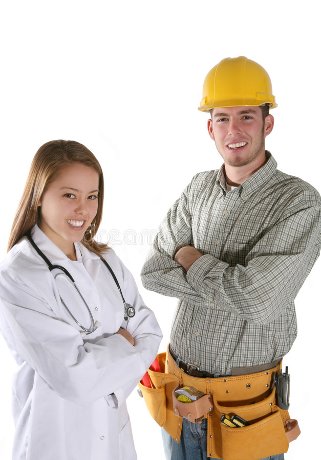Operaio ed infermiera di costruzione fotografie stock libere da diritti