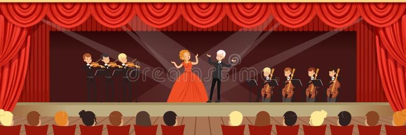 Operasångare som sjunger på etapp med den symphonic orkesteren för åhörarehorisontalvektorillustrationen vektor illustrationer